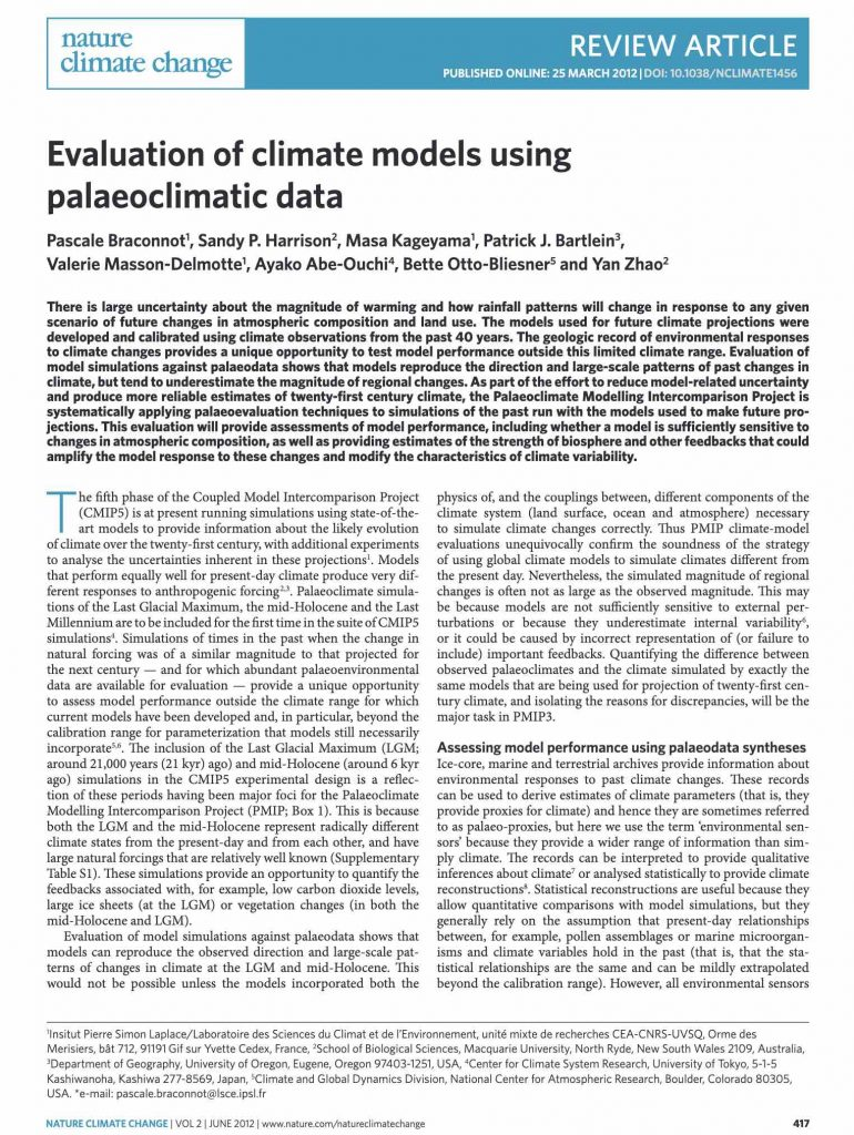 Evaluation of climate models using palaeoclimatic data