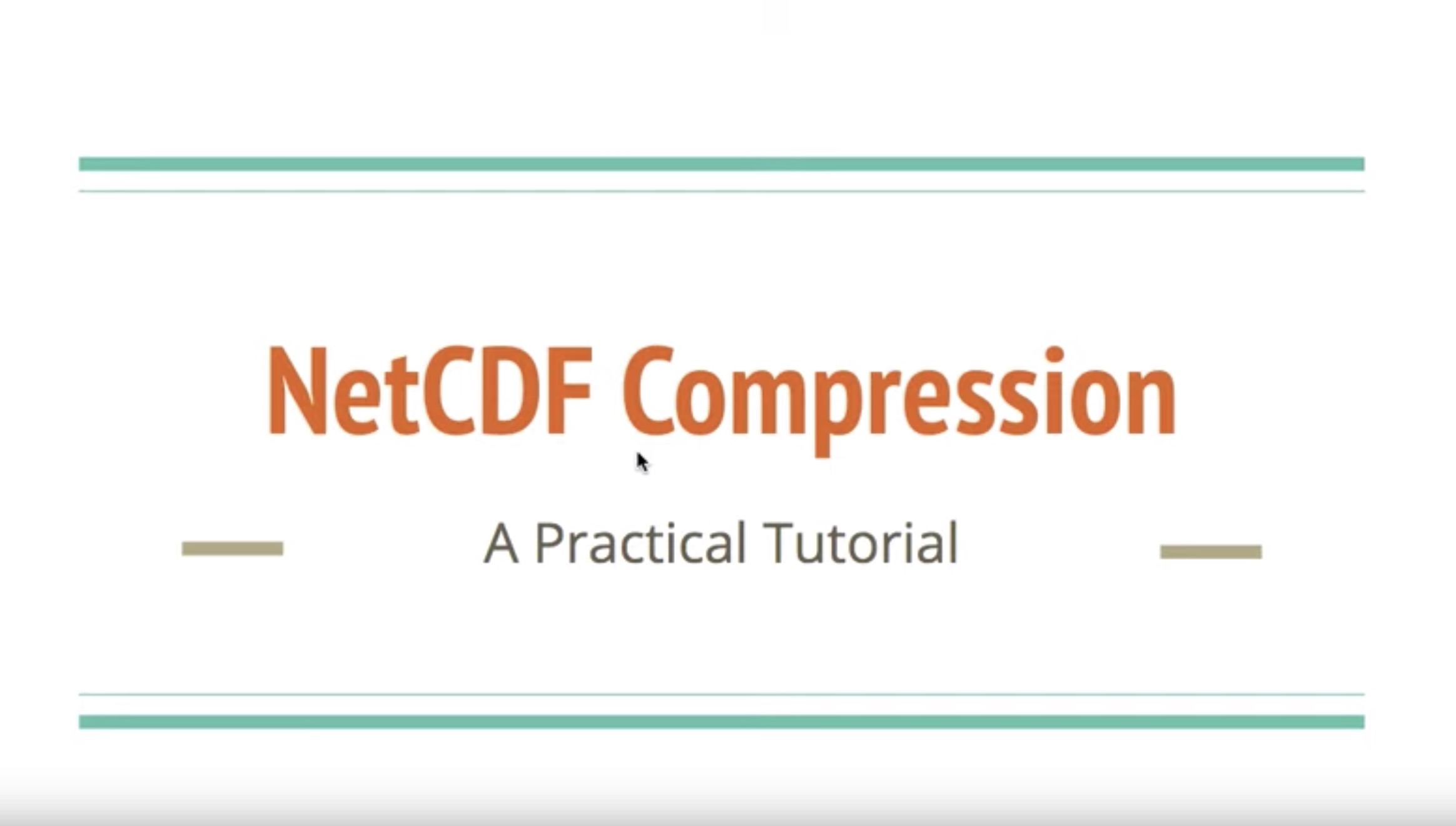 CMS talks: Compression of netCDF files | CLEX