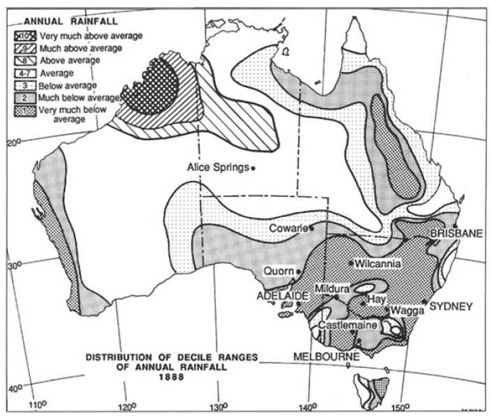 Above (left): A rainfall deciles map of the drought year (1888) originally produced in 1967 (Gibs and Maher) and adapted in 1997 (Nicholls). Above (right): A contemporary newspaper article about the Centennial drought.